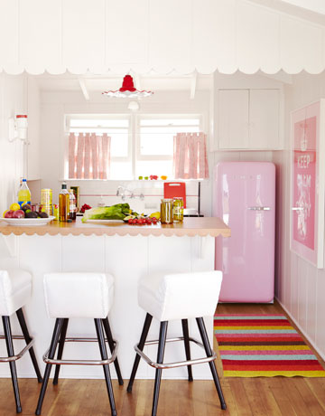 Pink kitchen, living room, bedroom and office